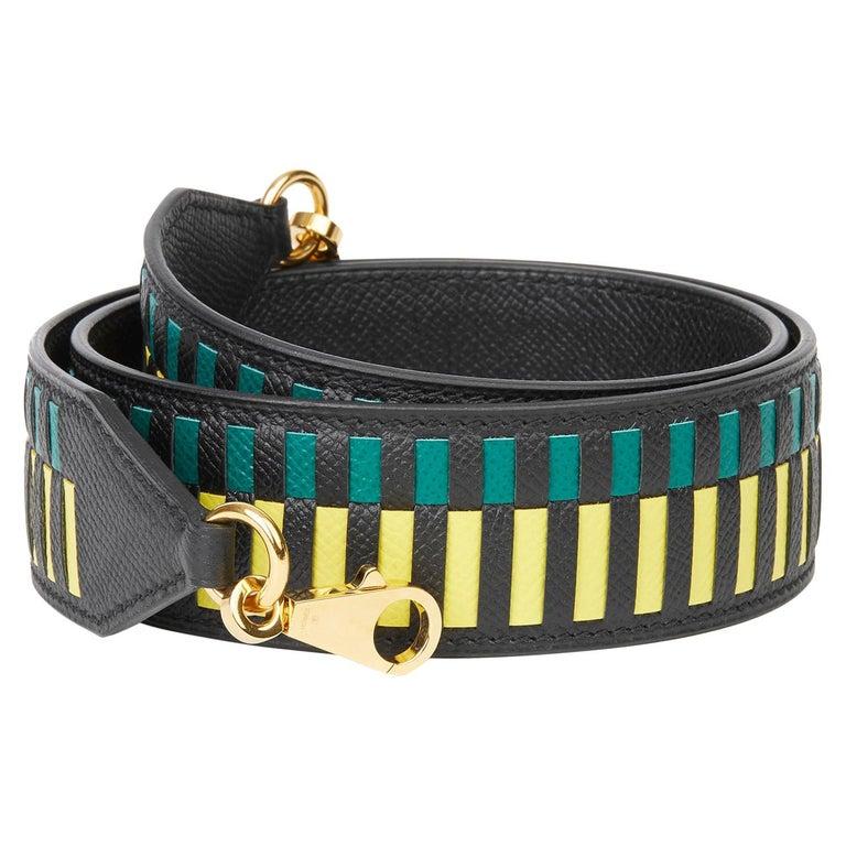 2018 Hermès Black, Lime & Malachite Epsom Leather Tressage 40mm Bag Strap For Sale