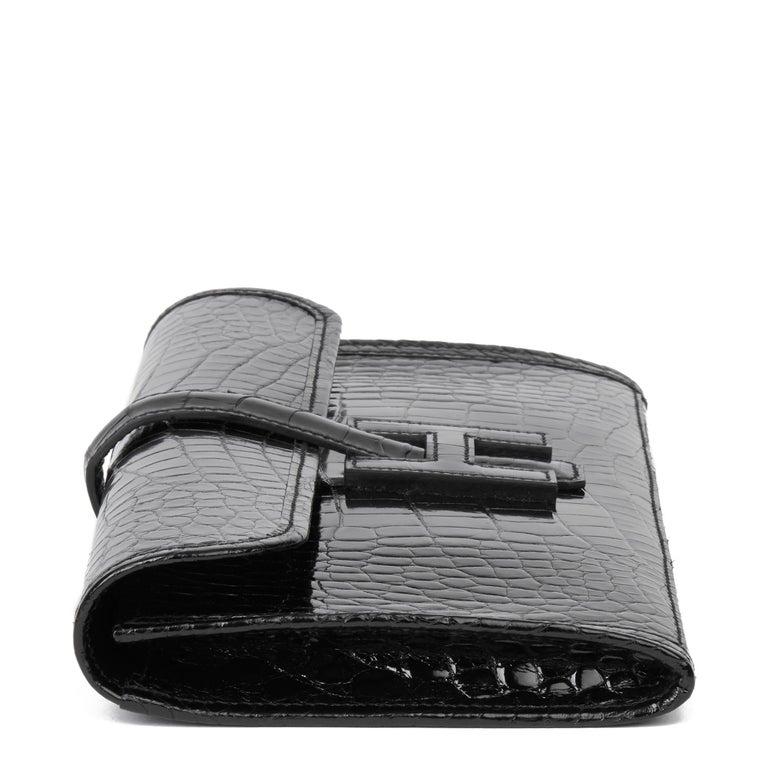 2018 Hermès Black Shiny Mississippiensis Alligator Leather Jige 29 In New Condition For Sale In Bishop's Stortford, Hertfordshire