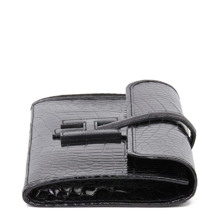 Women's 2018 Hermès Black Shiny Mississippiensis Alligator Leather Jige 29 For Sale