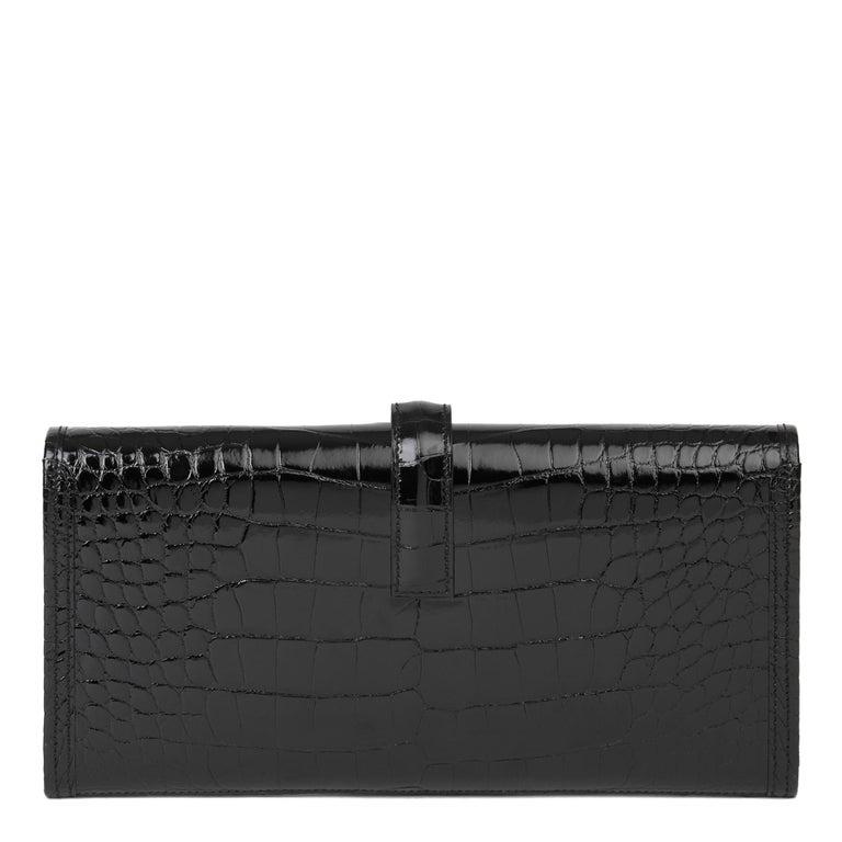 2018 Hermès Black Shiny Mississippiensis Alligator Leather Jige 29 For Sale 1