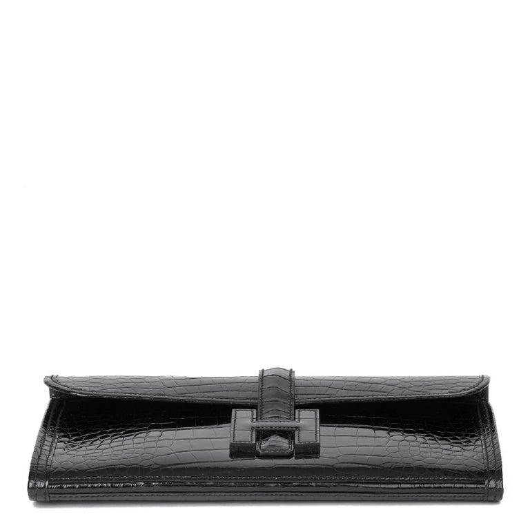 2018 Hermès Black Shiny Mississippiensis Alligator Leather Jige 29 For Sale 2