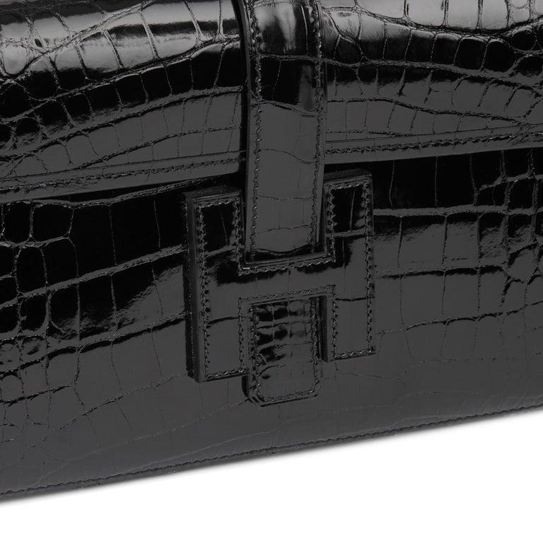 2018 Hermès Black Shiny Mississippiensis Alligator Leather Jige 29 For Sale 3