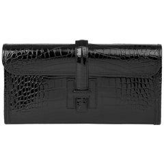 2018 Hermès Black Shiny Mississippiensis Alligator Leather Jige 29