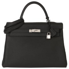 2018 Hermès Black Togo Leather Kelly 35cm Retourne