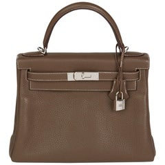 2018  Hermès Etoupe Togo Leather Kelly 28cm Retourne