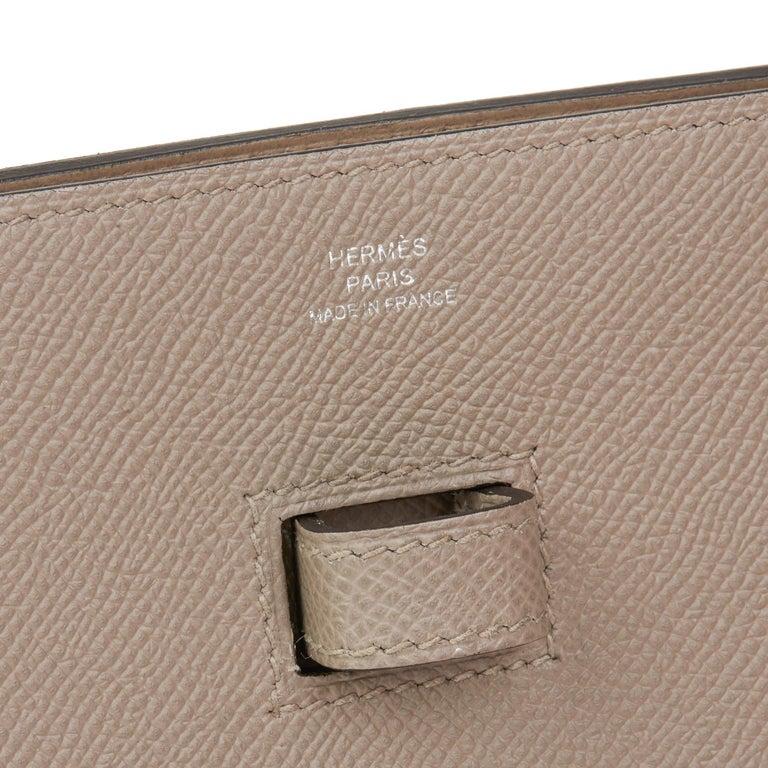2018 Hermès Gris Asphalte Epsom Leather Pochette Baton De Craie For Sale 2