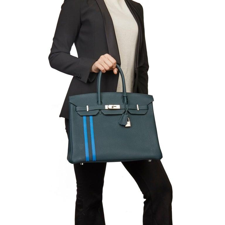 HERMÈS Vert Cypres Togo Leather & Bleu Zellige Swift Leather Officier Birkin 35cm  Xupes Reference: SKHB012 Serial Number: C Age (Circa): 2018 Accompanied By: Hermès Dust Bag, Box, Lock, Keys, Clochette, Protective Felt, Care Booklet,