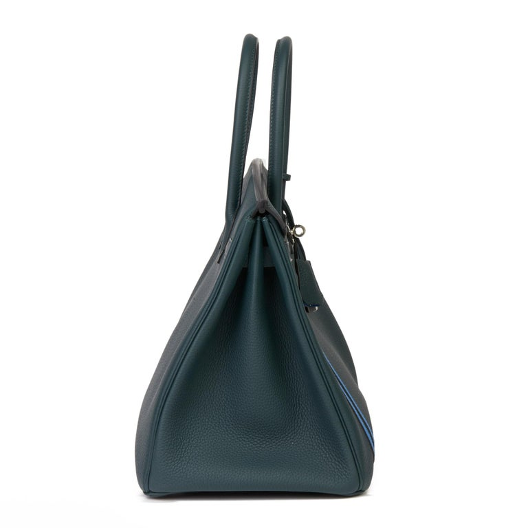 2018 Hermès Vert Cypres Togo & Bleu Zellige Swift Leather Officier Birkin 35cm In Excellent Condition For Sale In Bishop's Stortford, Hertfordshire