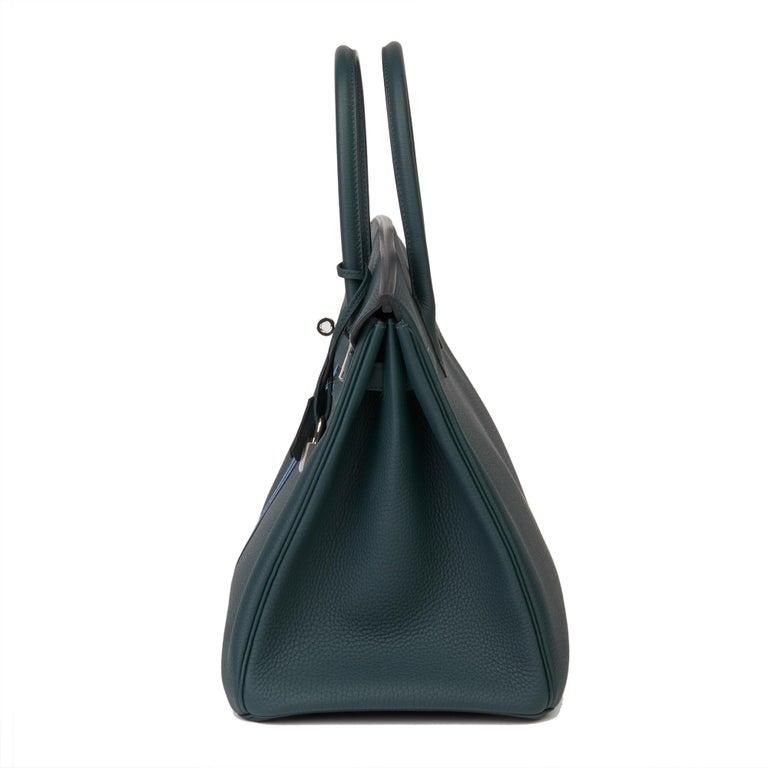 Women's 2018 Hermès Vert Cypres Togo & Bleu Zellige Swift Leather Officier Birkin 35cm For Sale
