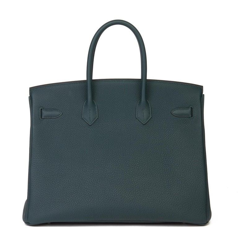 2018 Hermès Vert Cypres Togo & Bleu Zellige Swift Leather Officier Birkin 35cm For Sale 1