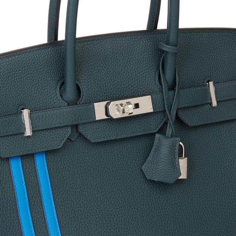 2018 Hermès Vert Cypres Togo & Bleu Zellige Swift Leather Officier Birkin 35cm For Sale 3