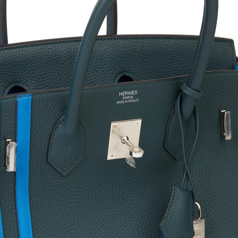 2018 Hermès Vert Cypres Togo & Bleu Zellige Swift Leather Officier Birkin 35cm For Sale 4
