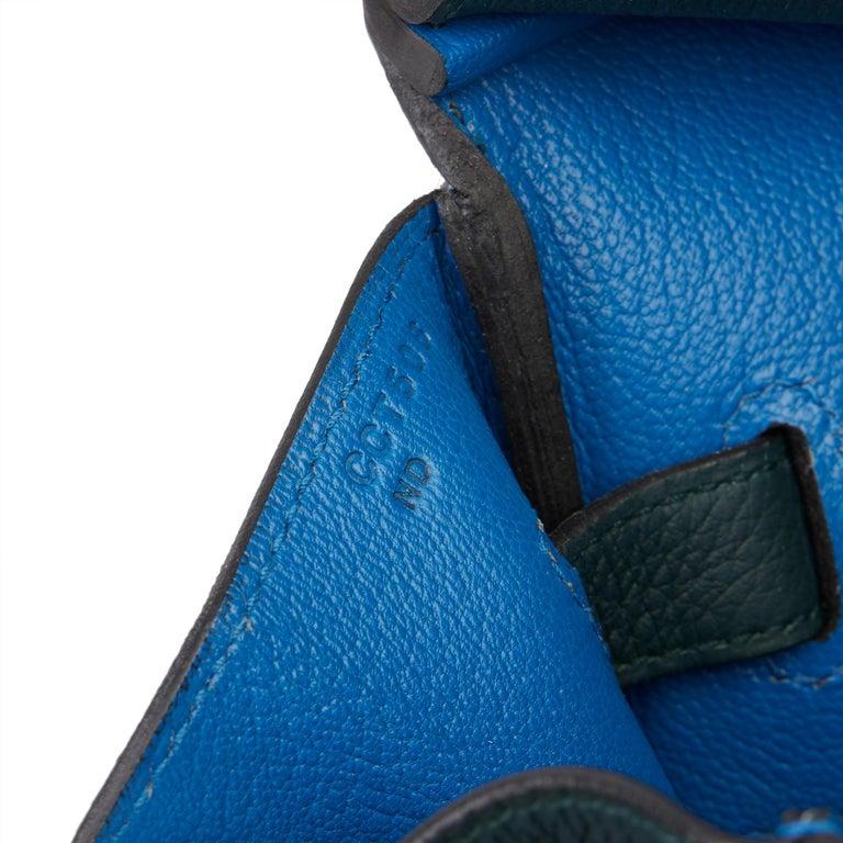 2018 Hermès Vert Cypres Togo & Bleu Zellige Swift Leather Officier Birkin 35cm For Sale 5