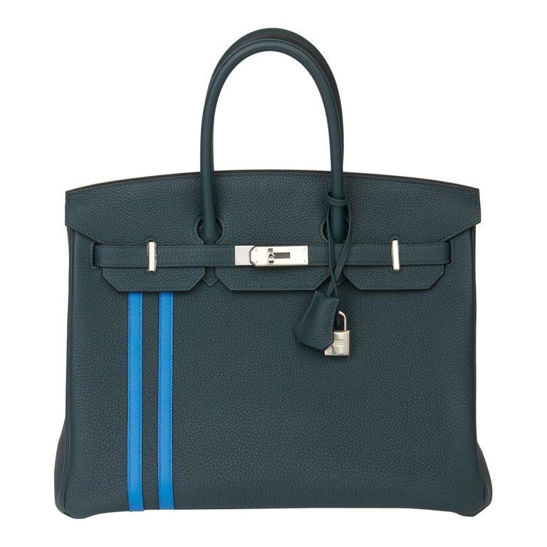 2018 Hermès Vert Cypres Togo & Bleu Zellige Swift Leather Officier Birkin 35cm For Sale