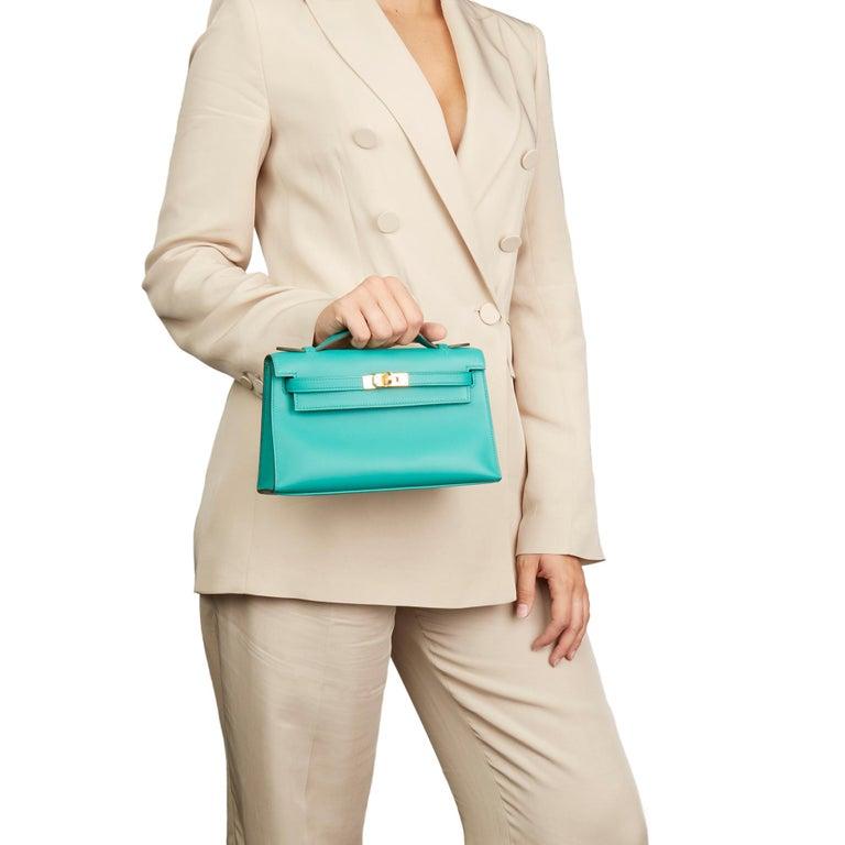 2018 Hermès Vert Verone Swift Leather Kelly Pochette 7