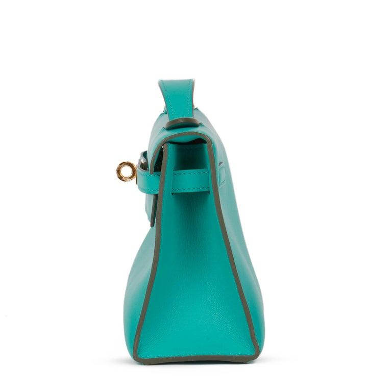 Blue 2018 Hermès Vert Verone Swift Leather Kelly Pochette