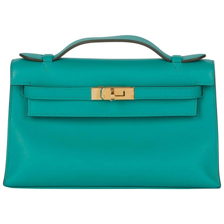 2018 Hermès Vert Verone Swift Leather Kelly Pochette
