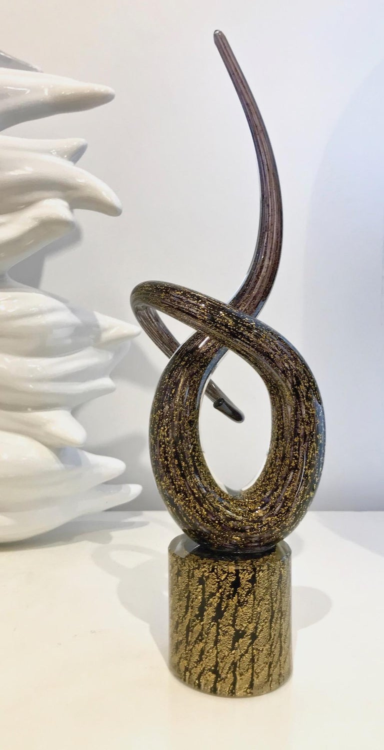 2018 Italian Organic Purple & Gold Murano Glass Abstract Twisted Curl Sculpture For Sale 3