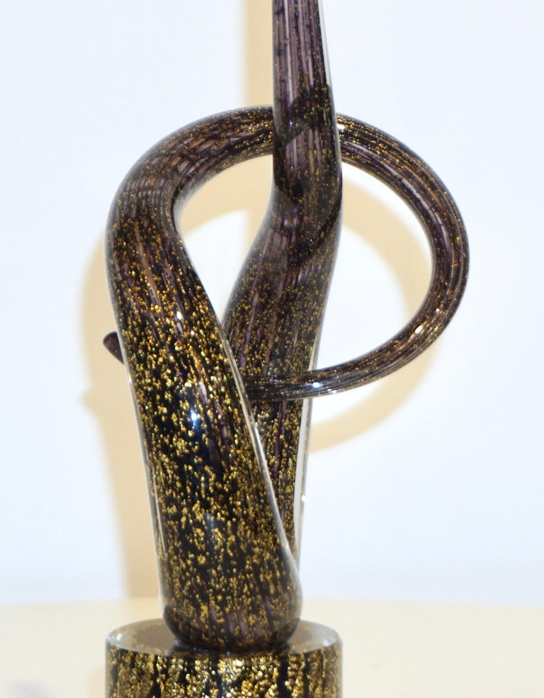 2018 Italian Organic Purple & Gold Murano Glass Abstract Twisted Curl Sculpture For Sale 7