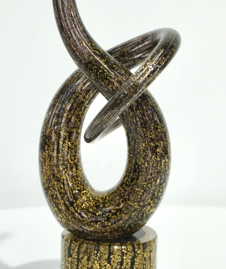 2018 Italian Organic Purple & Gold Murano Glass Abstract Twisted Curl Sculpture For Sale 11