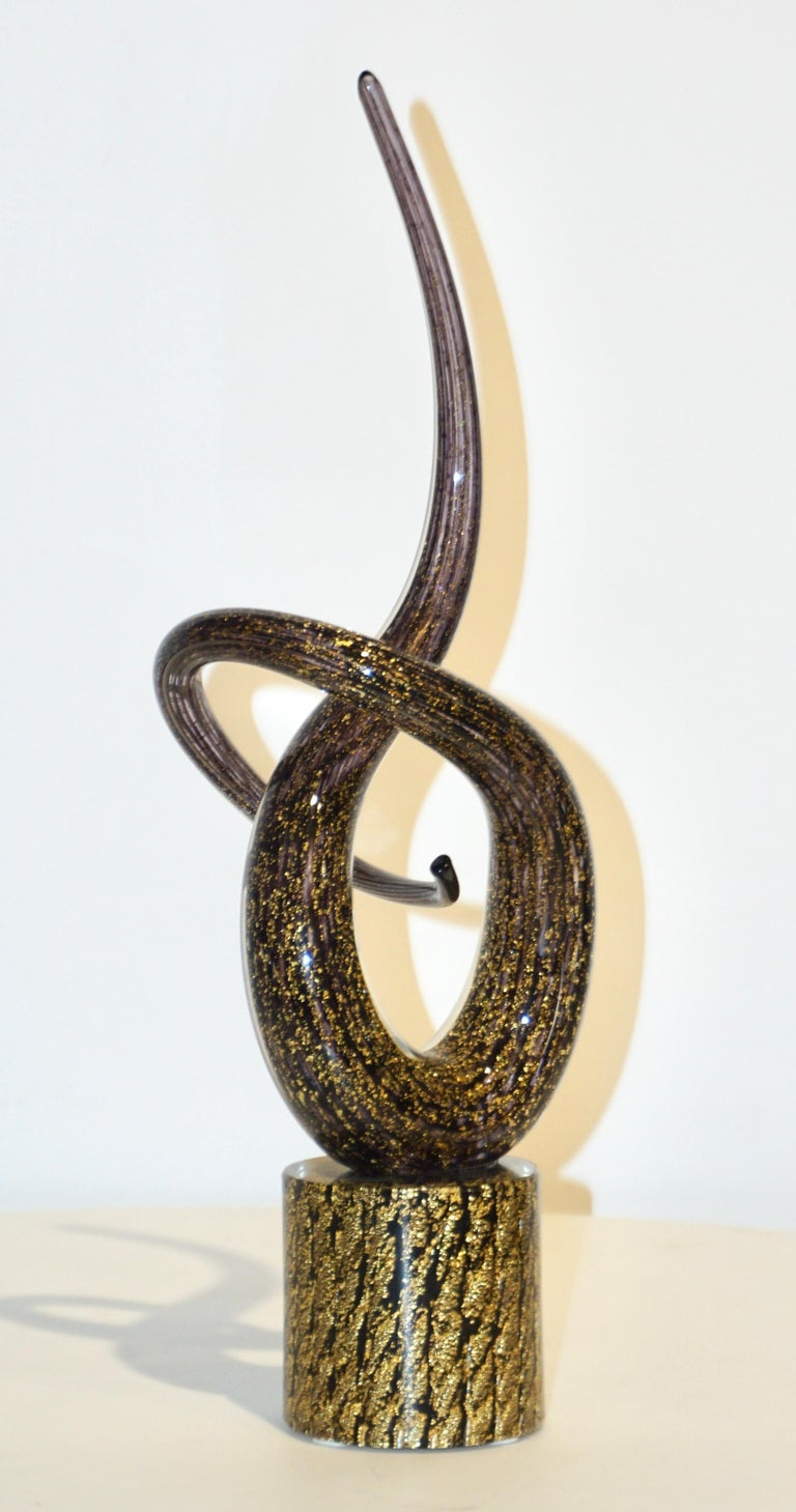 Hand-Crafted 2018 Italian Organic Purple & Gold Murano Glass Abstract Twisted Curl Sculpture For Sale