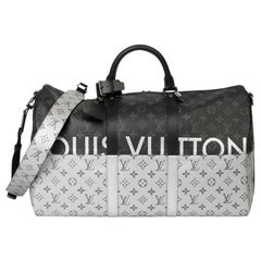 2018 Louis Vuitton Black & Silver Eclipse Canvas & Black Calfskin Keepall 50