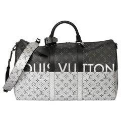 2018 Louis Vuitton Black & Silver Eclipse Canvas & Black Calfskin Keepall 50