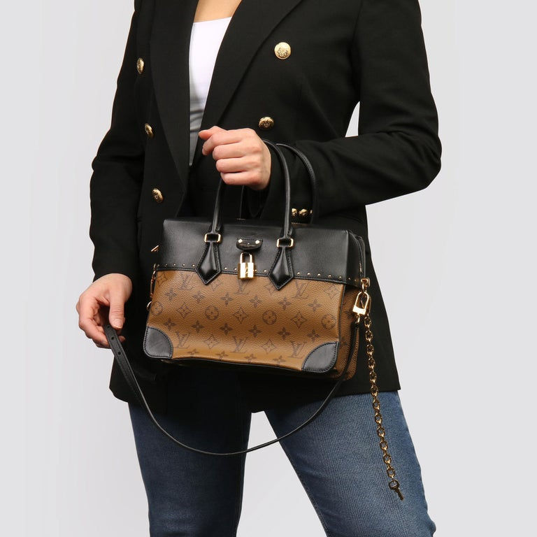 LOUIS VUITTON Brown Monogram Reverse Coated Canvas and Black Calfskin Leather City Malle   Xupes Reference: HB3878 Serial Number: BA0178 Age (Circa): 2018 Accompanied By: Louis Vuitton Dust Bag, Care Booklet, Padlock, Key Charm, Keys, Shoulder