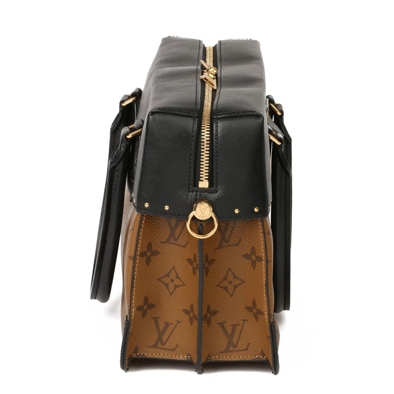 Women's or Men's 2018 Louis Vuitton Brown Monogram Reverse Canvas and Black Leather City Malle For Sale