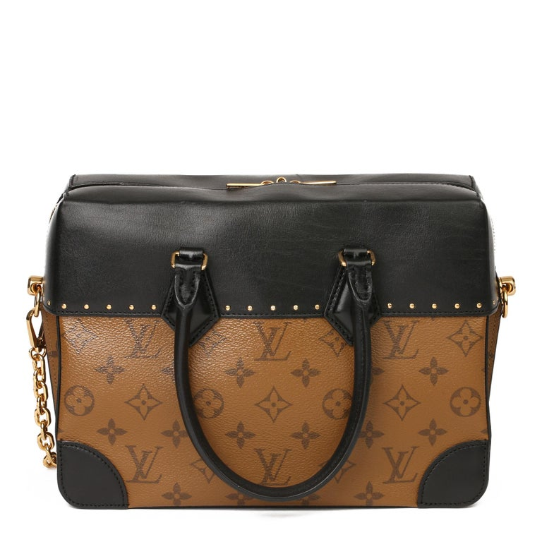 2018 Louis Vuitton Brown Monogram Reverse Canvas and Black Leather City Malle For Sale 2