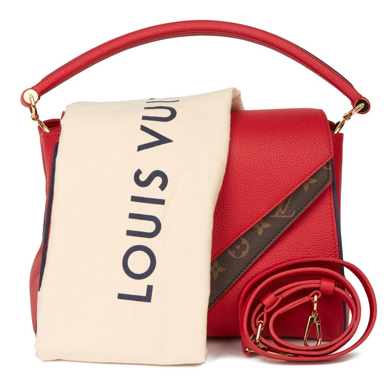 2018 Louis Vuitton Rubis Calfskin & Brown Monogram Coated Canvas Double V For Sale 6