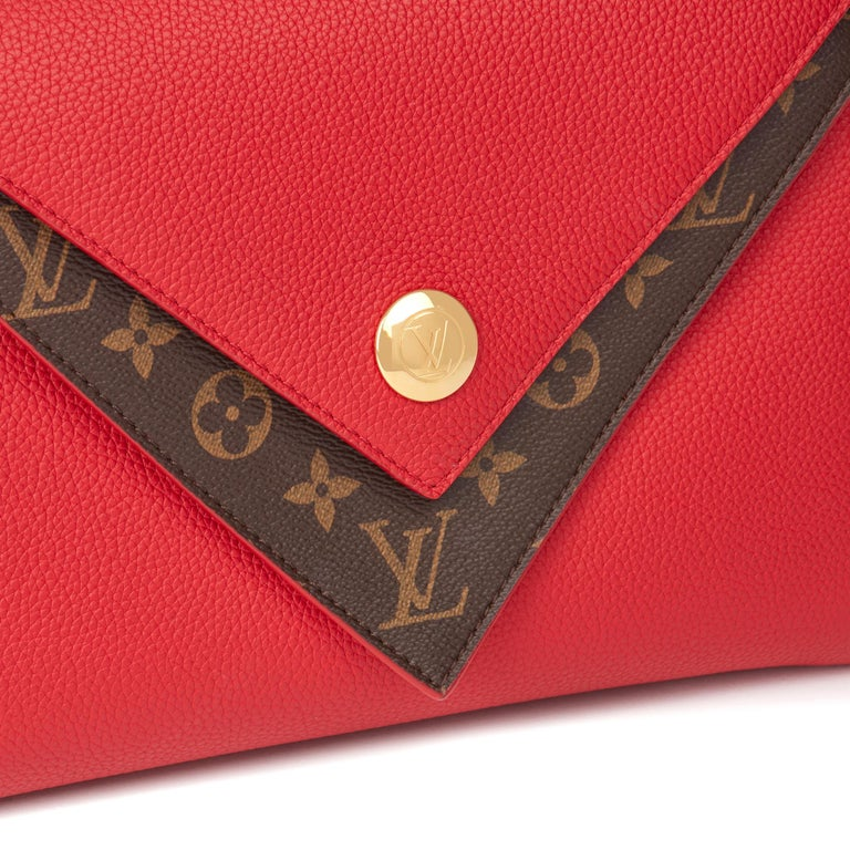 2018 Louis Vuitton Rubis Calfskin & Brown Monogram Coated Canvas Double V For Sale 1