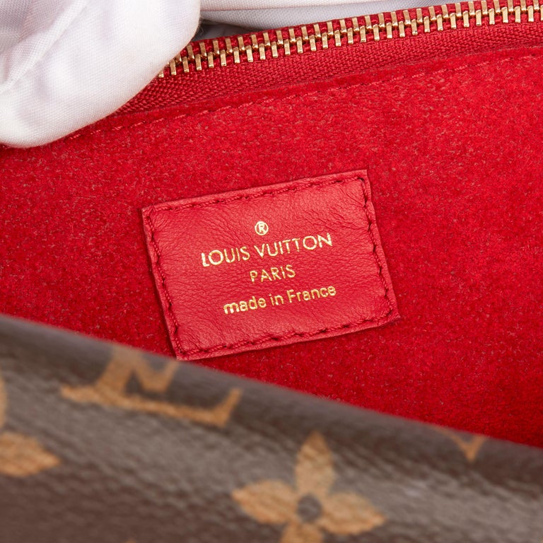 2018 Louis Vuitton Rubis Calfskin & Brown Monogram Coated Canvas Double V For Sale 3
