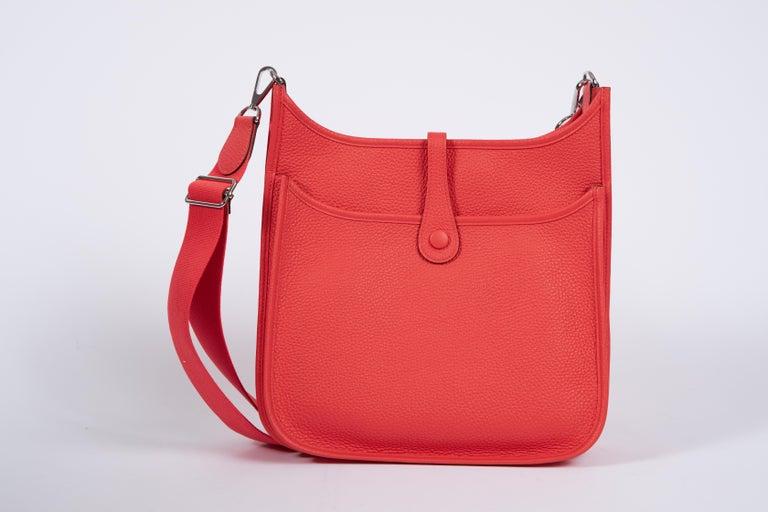 Red 2018 New Hermes MM Rose Jaipur Clemence Evelyne Crossbody Bag For Sale