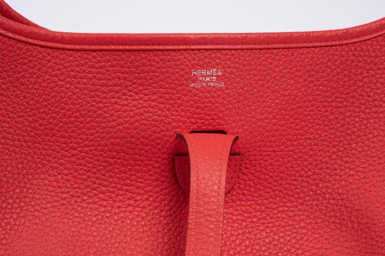 Women's 2018 New Hermes MM Rose Jaipur Clemence Evelyne Crossbody Bag For Sale