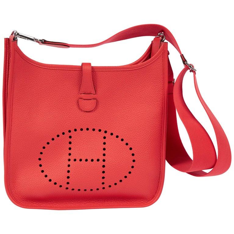2018 New Hermes MM Rose Jaipur Clemence Evelyne Crossbody Bag For Sale