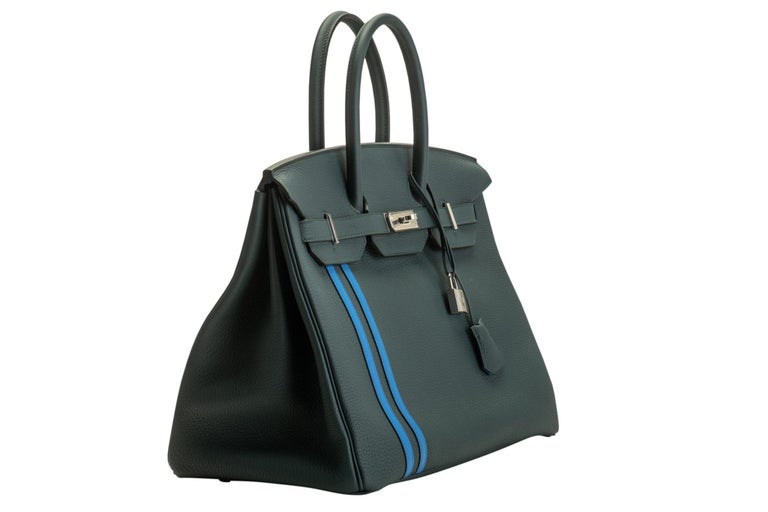 Hermes collectible officier Birkin 35 cm in vert cypress togo leather with blue zellige swift stripes and interiors. Palladium hardware. Date stamp C for 2018. Comes with the full set: rain jacket, lock , 2 keys, clochette, tirette, booklet, box,