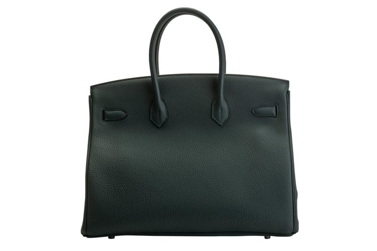 Black 2018 New Rare Hermes Birkin 35 Vert Cypress Officeir For Sale