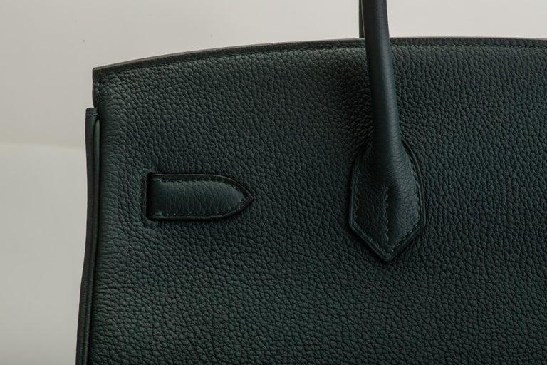 2018 New Rare Hermes Birkin 35 Vert Cypress Officeir For Sale 5