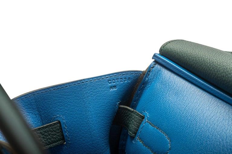 2018 New Rare Hermes Birkin 35 Vert Cypress Officeir For Sale 1