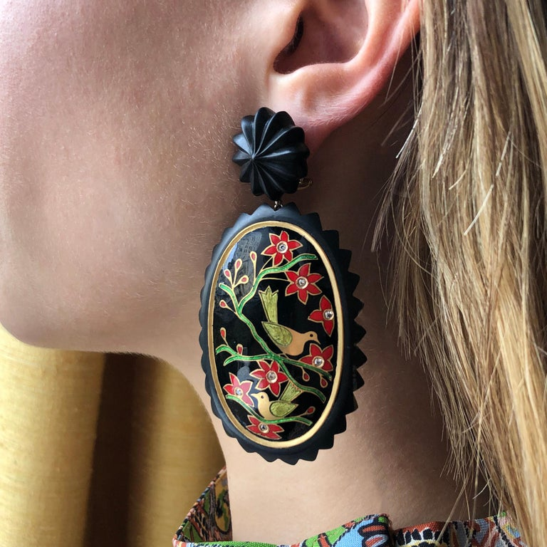 A pair of hand carved ebony, enamel diamond and 22 karat gold Landscape earrings, by Alice Cicolini, 2019. Stamped 18ct, with post backs for pierced ears.   Cicolini is a London-based contemporary jewelry designer and advocate of heritage