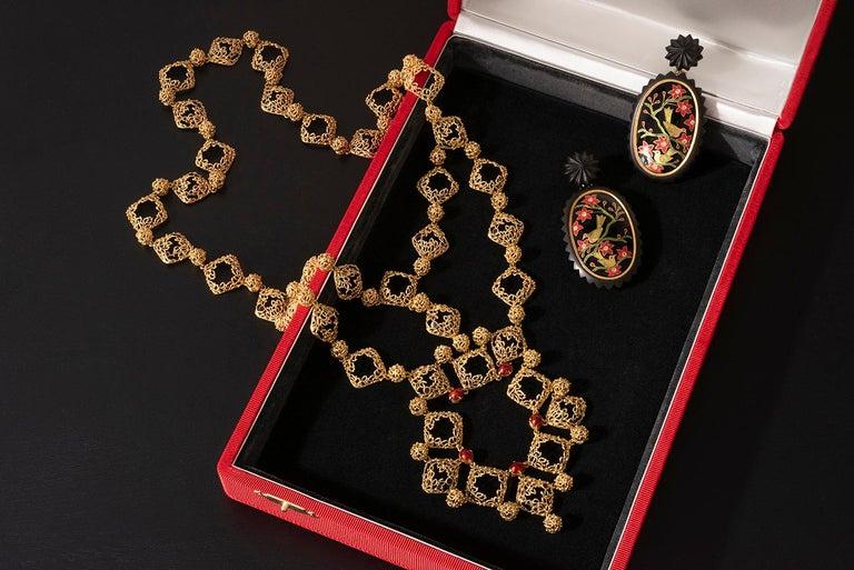 Contemporary 2019 Alice Cicolini Ebony, Enamel, Diamond and 22 Karat Gold Landscape Earrings For Sale