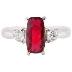 2.019 Carat Untreated, Mozambique Ruby and Diamond Ring Set in Platinum