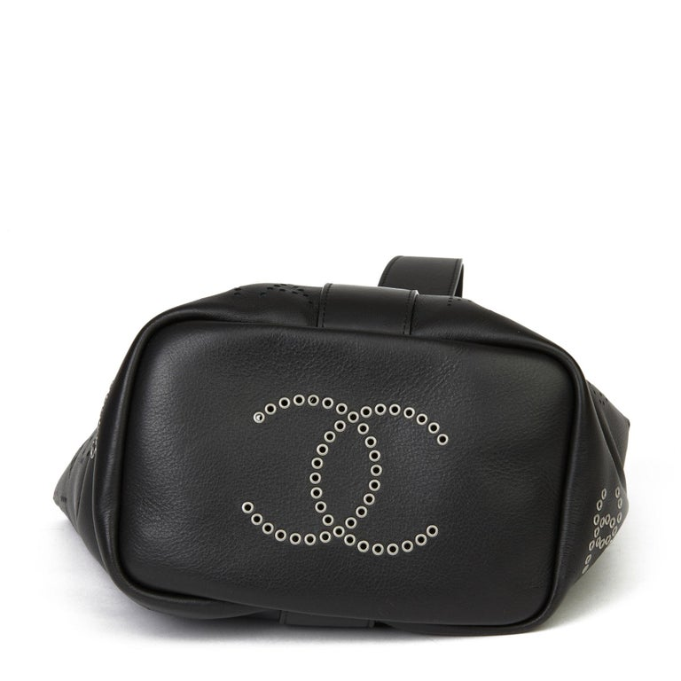 Women's 2019 Chanel Black Perforated Calfskin Logo Eyelets Bucket Bag with Tweed Pouch For Sale