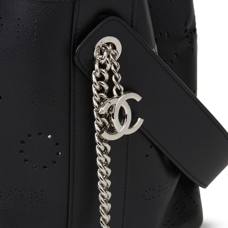 2019 Chanel Black Perforated Calfskin Logo Eyelets Bucket Bag with Tweed Pouch For Sale 1