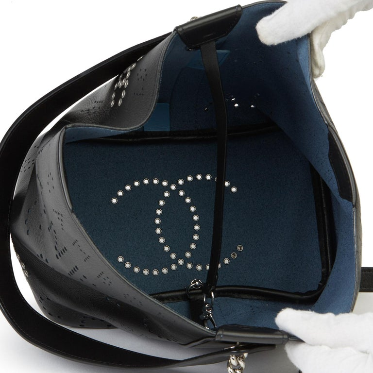 2019 Chanel Black Perforated Calfskin Logo Eyelets Bucket Bag with Tweed Pouch For Sale 4