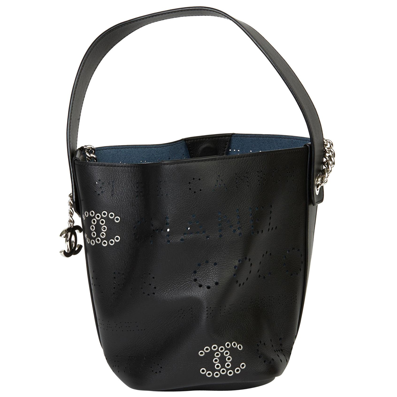 2019 Chanel Black Perforated Calfskin Logo Eyelets Bucket Bag with Tweed Pouch