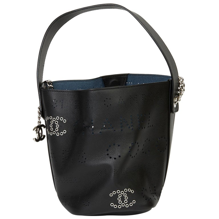 2019 Chanel Black Perforated Calfskin Logo Eyelets Bucket Bag with Tweed Pouch For Sale