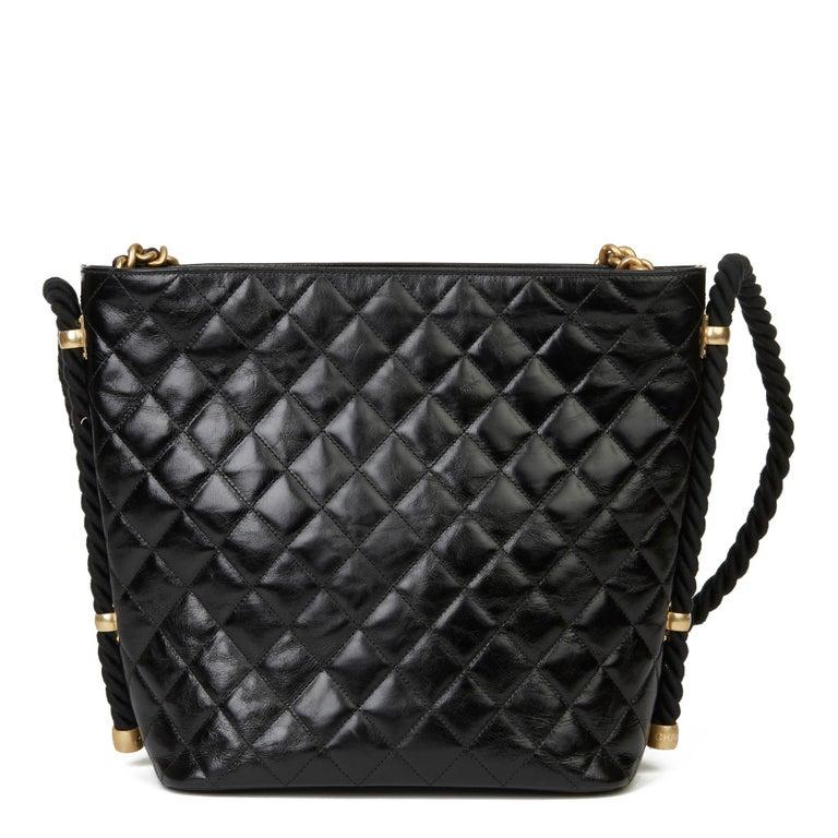 Women's 2019 Chanel Black Quilted Aged Calfskin Leather En Vogue Hobo Bag For Sale