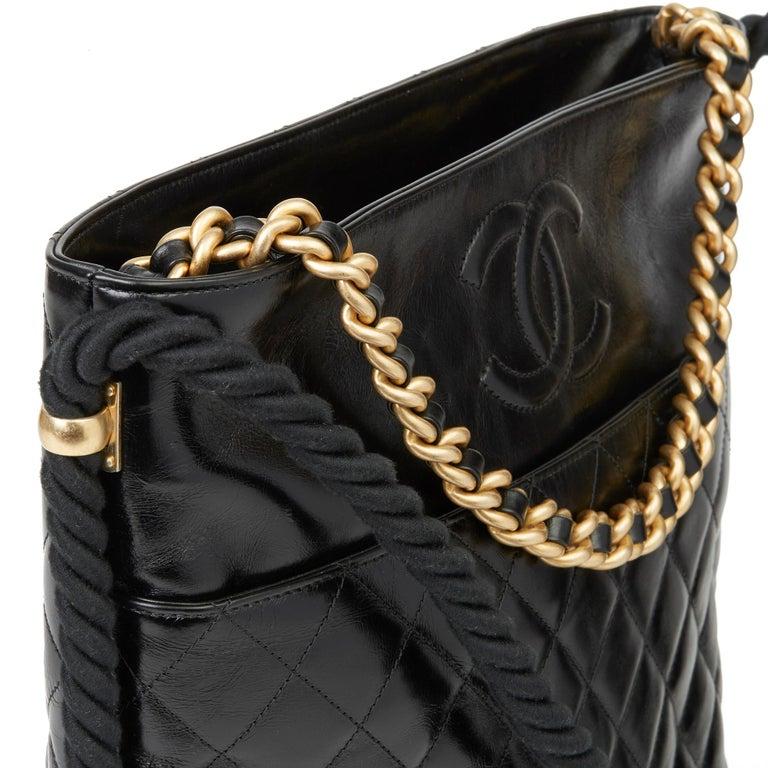 2019 Chanel Black Quilted Aged Calfskin Leather En Vogue Hobo Bag For Sale 3